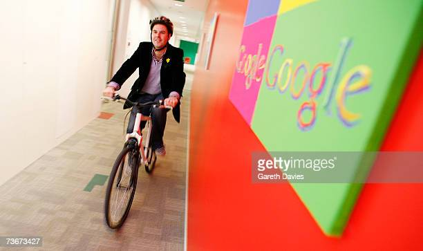 Google employee rides his new Google branded bicycle on March 22 2007 in London England Google has improved its green credentials by offering all of...