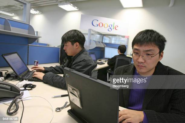 Google engineers work in the company's offices in Beijing China on March 2 2006 Google Inc the world's mostused Internet search site hired its first...
