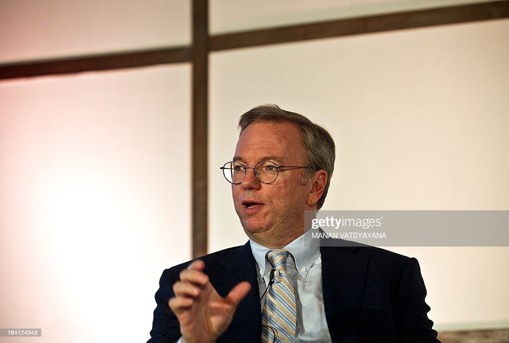 Google Executive Chairman Eric Schmidt gestures as he addresses a gathering at the National Association of Software and Services Companies (NASSCOM) startup event in New Delhi on March 20, 2013. Schmidt is in the Indian capital to take part in the Big Tent Activate summit on March 21.