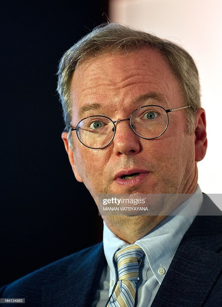 Google Executive Chairman Eric Schmidt gestures as he addresses a gathering at the National Association of Software and Services Companies (NASSCOM) startup event in New Delhi on March 20, 2013. Schmidt is in the Indian capital to take part in the Big Tent Activate summit on March 21. AFP PHOTO/ MANAN VATSYAYANA
