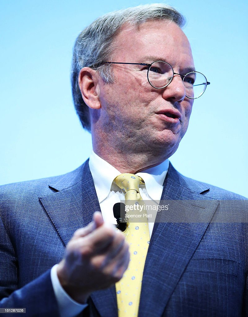 Google Executive Chairman Eric Schmidt introduces three new smartphones under Motorola's Razr brand that will become available for Verizon customers on September 5, 2012 in New York City. The new phones, the Droid Razr HD, the Razr M and the Razr Maxx HD, will all use Google's Android operating system. Motorola Mobility was acquired by google in August of 2011.
