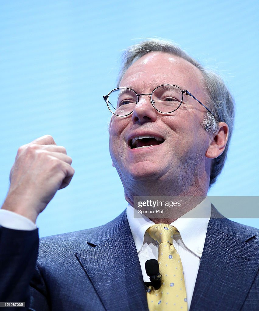 Google Executive Chairman <a gi-track='captionPersonalityLinkClicked' href=/galleries/search?phrase=Eric+Schmidt&family=editorial&specificpeople=5515021 ng-click='$event.stopPropagation()'>Eric Schmidt</a> introduces three new smartphones under Motorola's Razr brand that will become available for Verizon customers on September 5, 2012 in New York City. The new phones, the Droid Razr HD, the Razr M and the Razr Maxx HD, will all use Google's Android operating system. Motorola Mobility was acquired by google in August of 2011.