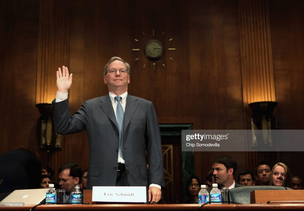 Google Executive Chairman Eric Schmidt is sworn in before testifying to the Senate Judiciary Committee's Antitrust Competition Policy and Consumer...
