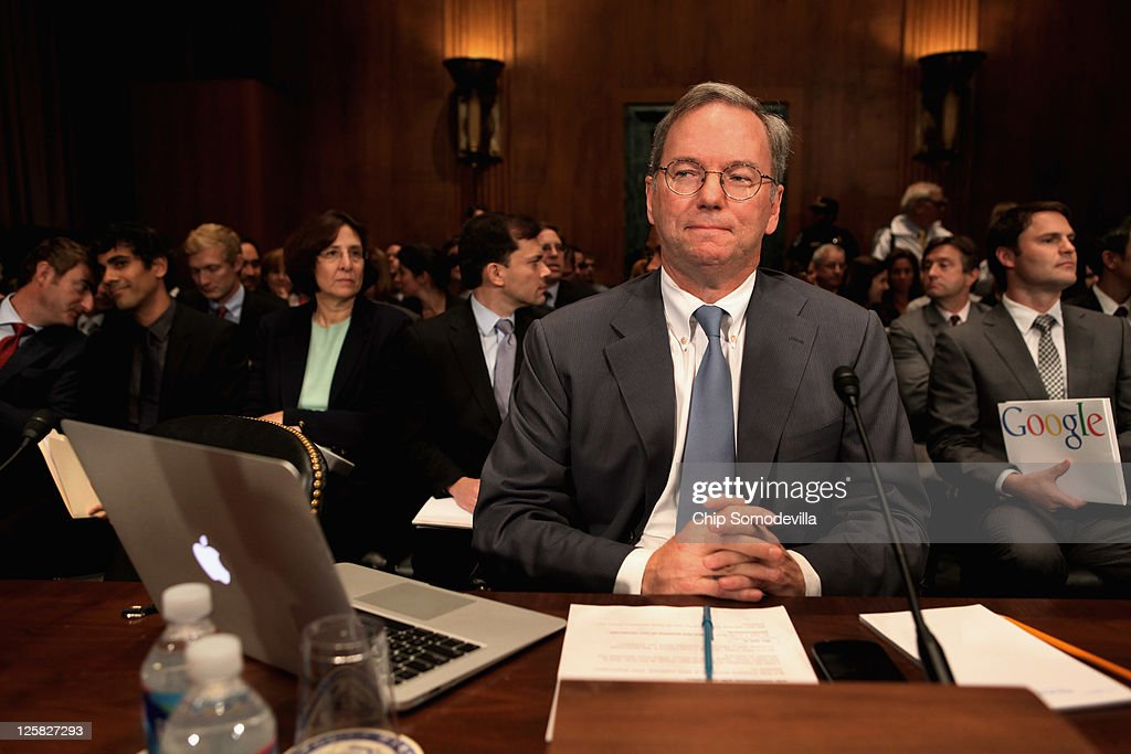 Google Executive Chairman Eric Schmidt prepares to testify before the Senate Judiciary Committee's Antitrust Competition Policy and Consumer Rights...