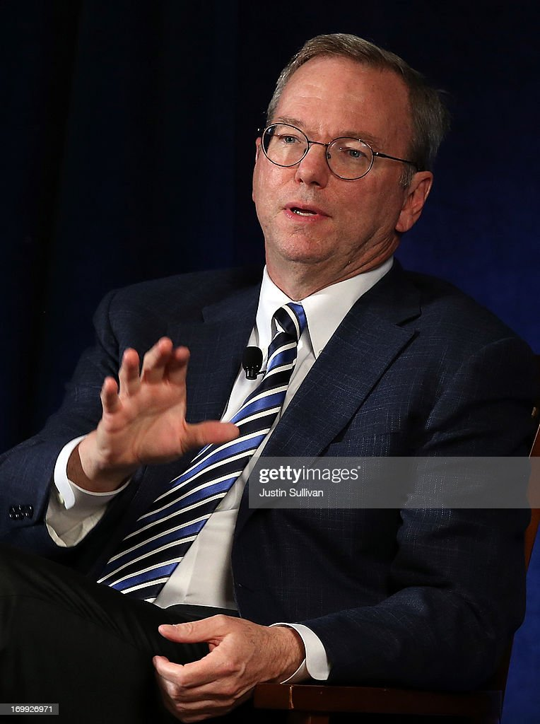 Google executive chairman <a gi-track='captionPersonalityLinkClicked' href=/galleries/search?phrase=Eric+Schmidt&family=editorial&specificpeople=5515021 ng-click='$event.stopPropagation()'>Eric Schmidt</a> speaks during a Commonwealth Club of California event on June 4, 2013 in San Francisco, California. Google's <a gi-track='captionPersonalityLinkClicked' href=/galleries/search?phrase=Eric+Schmidt&family=editorial&specificpeople=5515021 ng-click='$event.stopPropagation()'>Eric Schmidt</a> spoke in conversation about society's future as new technologies continue to evolve with Jared Cohen, Google's director of Google Ideas and Greg Dalton, Climate One founder.