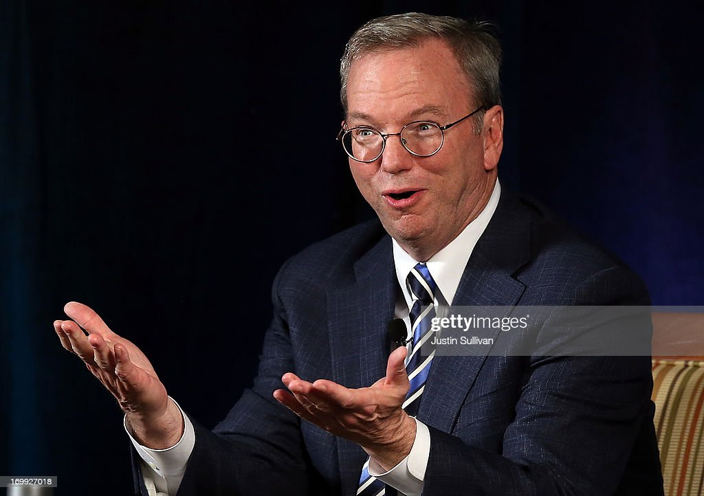 Google executive chairman Eric Schmidt speaks during a Commonwealth Club of California event on June 4, 2013 in San Francisco, California. Google's Eric Schmidt spoke in conversation about society's future as new technologies continue to evolve with Jared Cohen, Google's director of Google Ideas and Greg Dalton, Climate One founder.