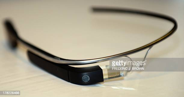 Google Glass is displayed ahead of a discussion at the University of Southern California's Annenberg School for Communication and Journalism where...