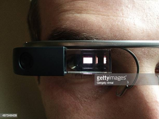 Google Glass User Eye Closeup