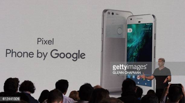 Google hardware team head Rick Osterloh introduces a new Pixel smartphone fielded in a direct challenge to Apple iPhone at a press event in San...