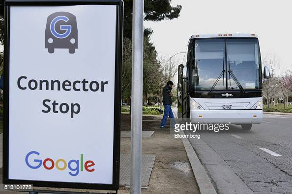 A Google Inc campus bus picks up a passenger near the entrance to the Googleplex headquarters in Mountain View California US on Thursday Feb 18 2016...