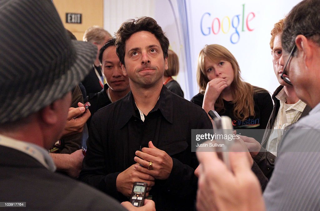 Google Inc. co-founder <a gi-track='captionPersonalityLinkClicked' href=/galleries/search?phrase=Sergey+Brin&family=editorial&specificpeople=753551 ng-click='$event.stopPropagation()'>Sergey Brin</a> pauses as he talks with reporters about the new Google Instant during a special launch event September 8, 2010 in San Francisco, California. Google announced the launch of Google Instant, a faster version of Google search that streams results live as you type your query.
