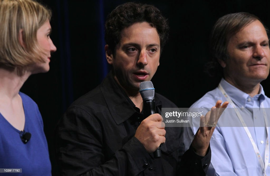 Google Inc. co-founder <a gi-track='captionPersonalityLinkClicked' href=/galleries/search?phrase=Sergey+Brin&family=editorial&specificpeople=753551 ng-click='$event.stopPropagation()'>Sergey Brin</a> (C) speaks during a question and answer session following the launch of the new Google Instant during a special launch event September 8, 2010 in San Francisco, California. Google announced the launch of Google Instant, a faster version of Google search that streams results live as you type your query.