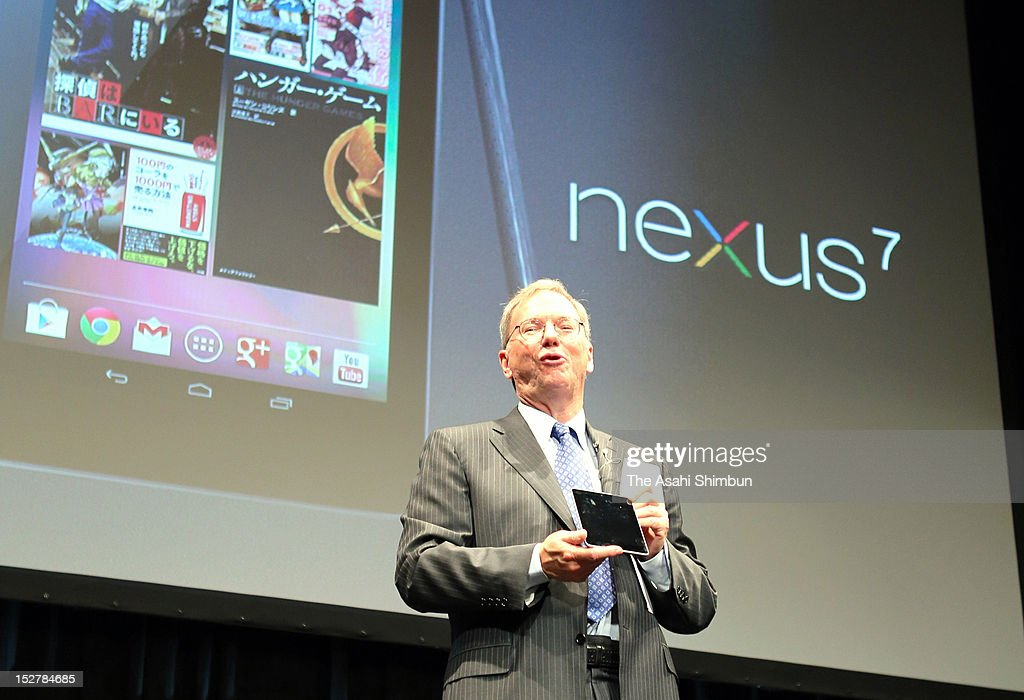 Google Inc Executive Chairman <a gi-track='captionPersonalityLinkClicked' href=/galleries/search?phrase=Eric+Schmidt&family=editorial&specificpeople=5515021 ng-click='$event.stopPropagation()'>Eric Schmidt</a> announces the launch of Nexus 7 android tablet in Japan, run by their latest OS Android 4.1 'Jelly Bean'; at a press conference on September 25, 2012 in Tokyo, Japan.