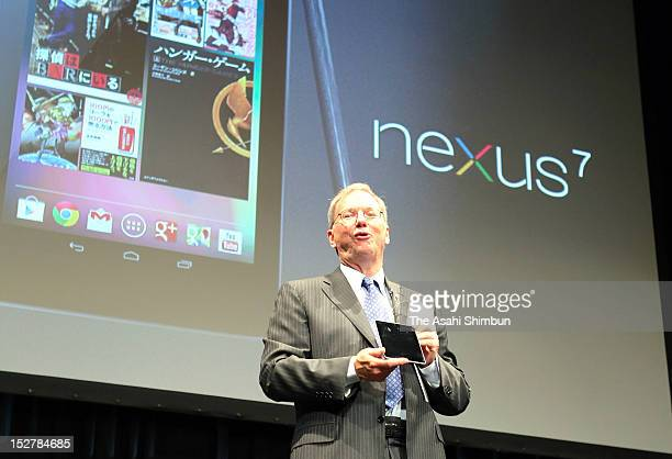 Google Inc Executive Chairman Eric Schmidt announces the launch of Nexus 7 android tablet in Japan run by their latest OS Android 41 'Jelly Bean' at...