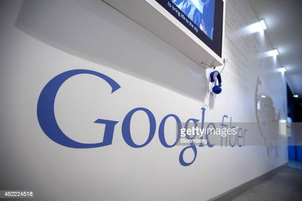 A Google Inc Fiber display is shown at the Google office in Washington DC US on Tuesday July 15 2014 Google's presence in Washington is necessitated...
