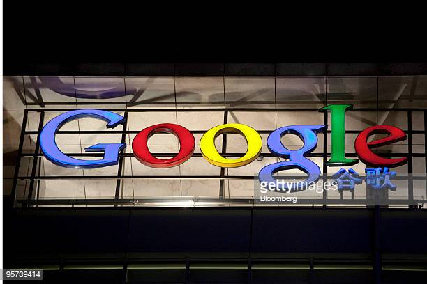 A Google Inc logo is lit outside its office in Beijing China on Wednesday Jan 13 2010 Google Inc defied the Chinese government by saying it will end...