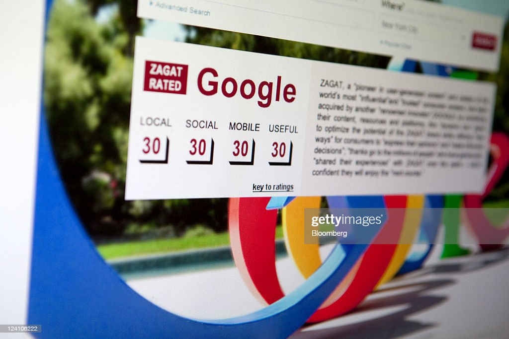 A Google Inc. review is seen on the homepage of Zagat Survey LLC in Washington, D.C., U.S., on Thursday, Sept. 8, 2011. Google acquired Zagat, the review and ratings service known for its burgundy-colored restaurant guides, bringing it features aimed at local businesses and advertisers. Photographer: Andrew Harrer/Bloomberg via Getty Images