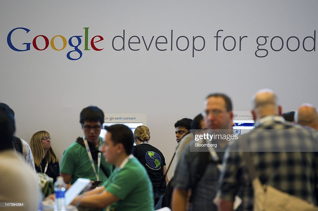 Google Inc. signage is displayed during the Google I/O conference in San Francisco, California, U.S., on Thursday, June 28, 2012. Google Inc., owner of the world's most popular search engine, unveiled a cloud-computing service for building and running applications to help woo customers and challenge Amazon.com Inc.'s Web Services. Photographer: David Paul Morris/Bloomberg via Getty Images