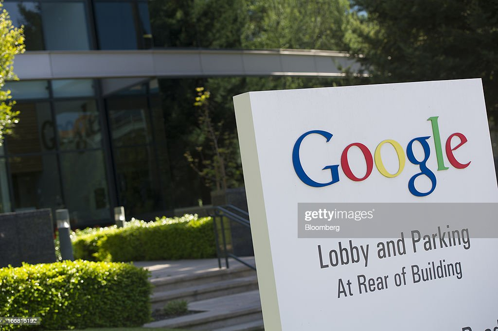 Google Inc. signage is displayed outside of the company's headquarters in Mountain View, California, U.S., on Tuesday, April 16, 2013. Google Inc. is expected to release earnings data on April 18. Photographer: David Paul Morris/Bloomberg via Getty Images