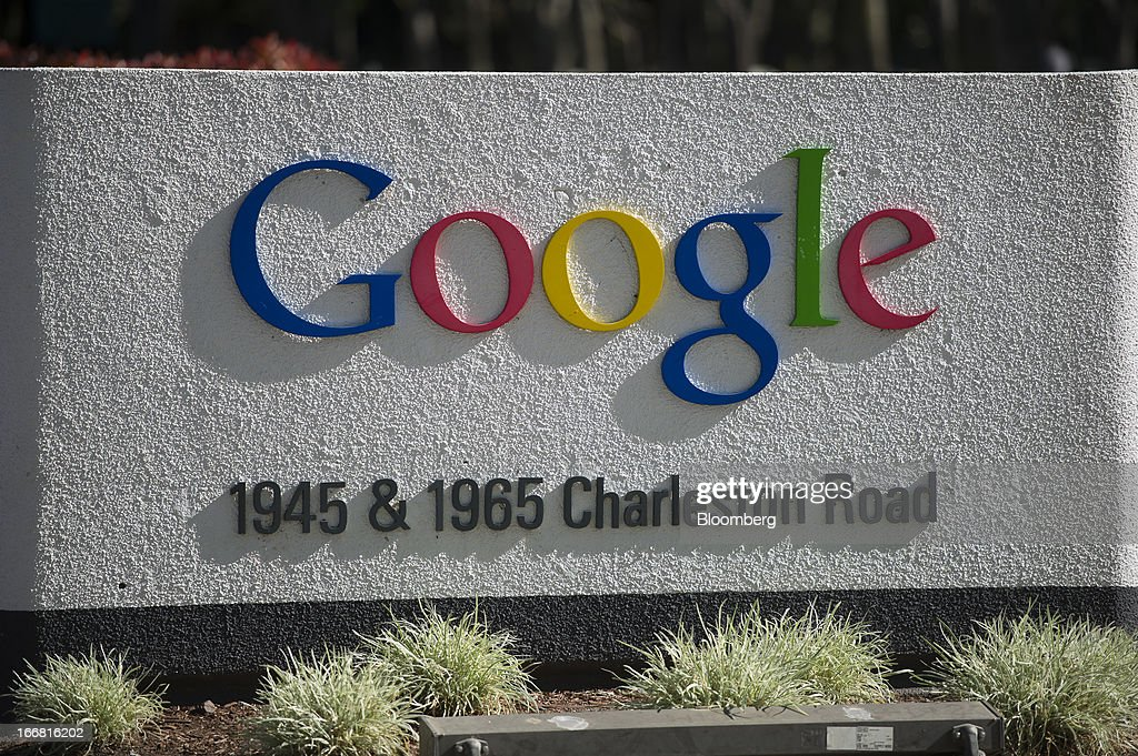 Google Inc. signage is displayed outside of the outside of the company's headquarters in Mountain View, California, U.S., on Tuesday, April 16, 2013. Google Inc. is expected to release earnings data on April 18. Photographer: David Paul Morris/Bloomberg via Getty Images