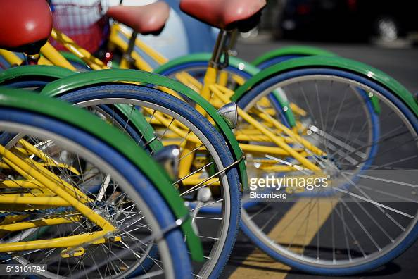 Google Inc themed bicycles sit inside the Googleplex headquarters in Mountain View California US on Thursday Feb 18 2016 Google part of Alphabet Inc...