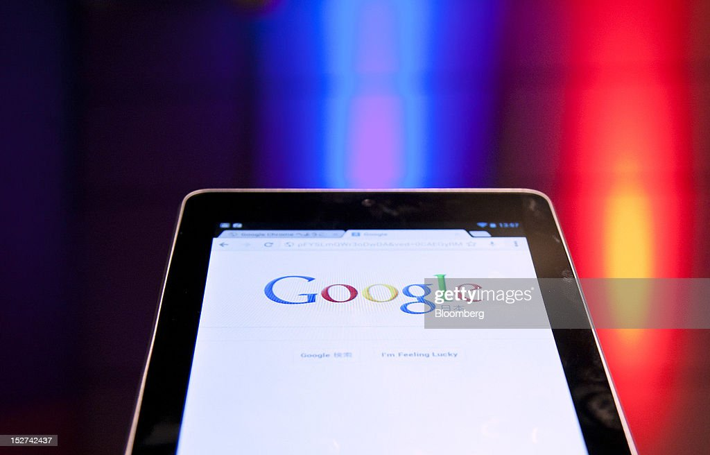 Google Inc.'s Japanese website is displayed on the company's Nexus 7 tablet computer at a news conference in Tokyo, Japan, on Tuesday, Sept. 25, 2012. Google said it will sell its Nexus 7 handheld computers in Japan, where annual shipments of tablet devices may triple to 11 million units in five years. Photographer: Tomohiro Ohsumi/Bloomberg via Getty Images