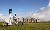 Google launch the Street Trike with VisitBritain at Stonehenge near Amesbury on July 13 2009 in Wiltshire England The British public voted for the...