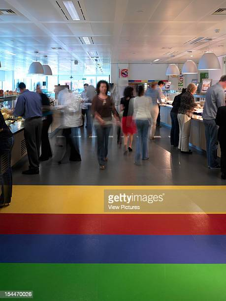 Google London United Kingdom Architect Degw Google Canteen Shop With Colourful Floor