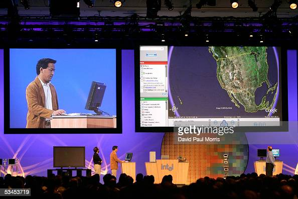 Google presents their new Google Earth program during Paul Otellini's keynote speech at the opening of the Intel Developer Forum at the Moscone...