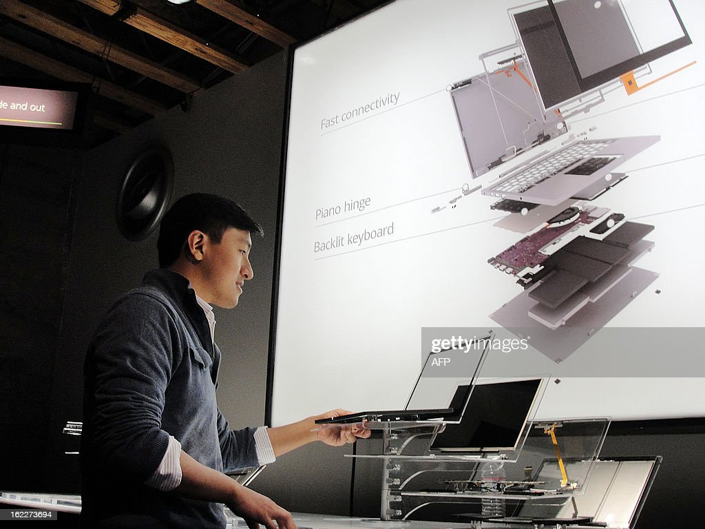 Google product manager Kan Li unveils the company's new Chromebook Pixel on February 21, 2013 in San Francisco . Google said its Chromebook Pixel computers, a touch-screen notebook designed for high-end users, blends tablet and laptop technology, boasting heavyweight Intel chips and screens tailored for rich graphics.