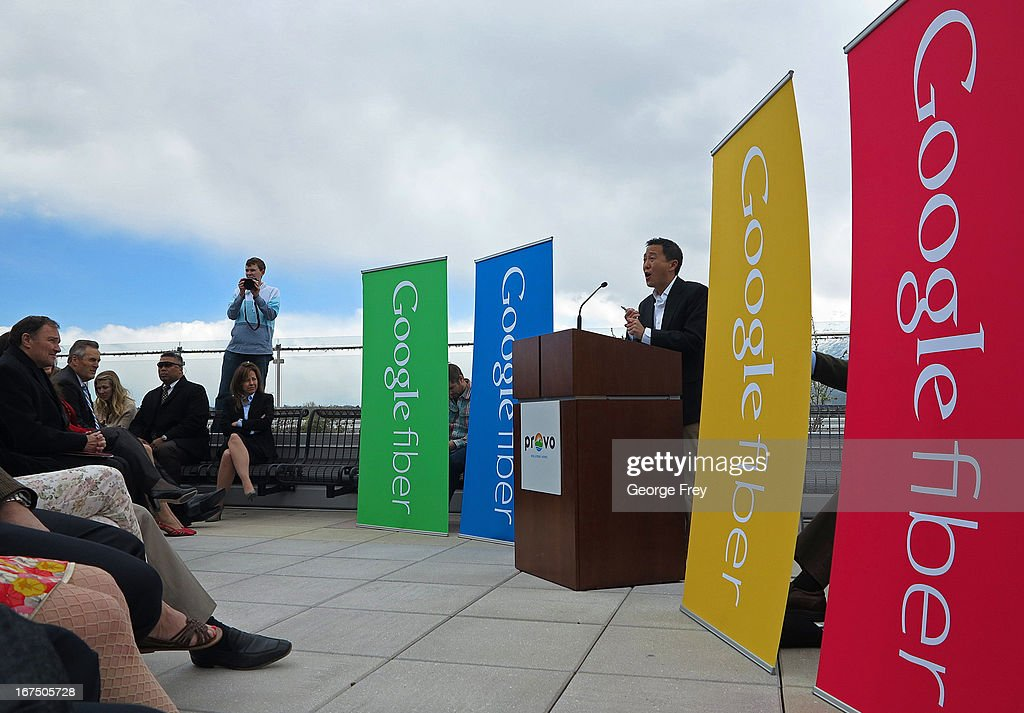 Google representative Kevin Lo speaks at the Provo Convention Center to announce that the city has been chosen as the third city in the country to get Google Fiber on April 17, 2013 in Provo, Utah. Google Fiber is a high speed internet connection with speeds up to a 1000 Mbps.