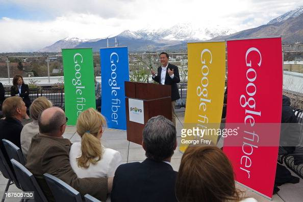 Google representative Kevin Lo speaks at the Provo Convention Center to announce that the city has been chosen as the third city in the country to...