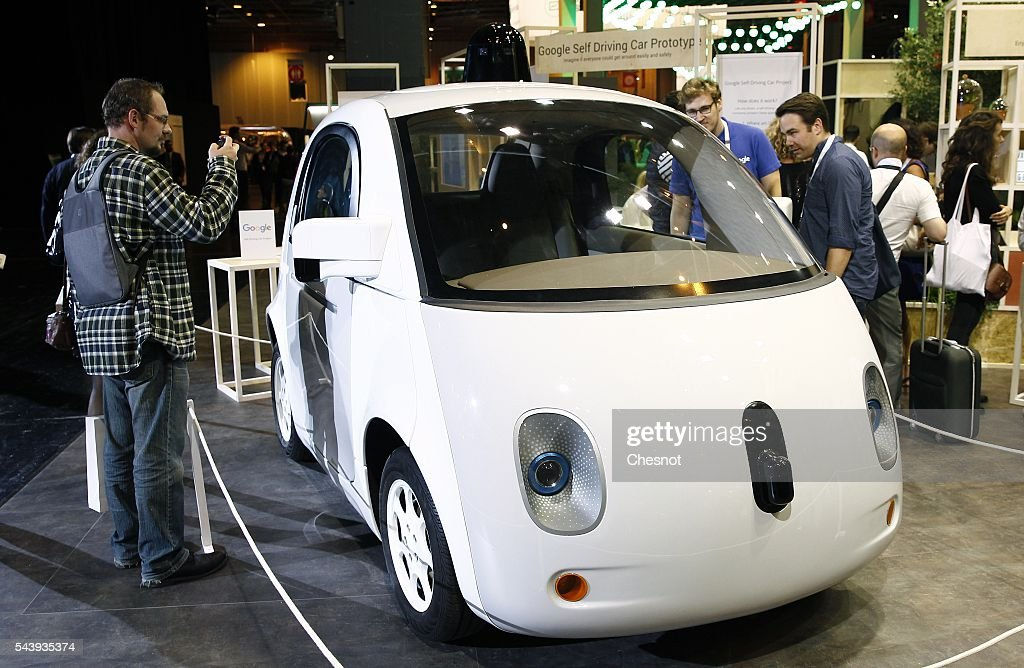 A Google self-driving car project is displayed during the Viva Technology show on June 30, 2016 in Paris, France. Viva Technology Startup Connect, the new international event brings together 5,000 startups with top investors, companies to grow businesses and all players in the digital transformation who shape the future of the internet.