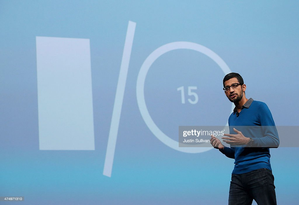 Google senior vice president of product <a gi-track='captionPersonalityLinkClicked' href=/galleries/search?phrase=Sundar+Pichai&family=editorial&specificpeople=7768399 ng-click='$event.stopPropagation()'>Sundar Pichai</a> delivers the keynote address during the 2015 Google I/O conference on May 28, 2015 in San Francisco, California. The annual Google I/O conference runs through May 29.