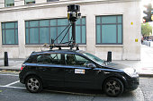 Google Street View camera car waits at a light on Bury Place on October 2 2008 in London England The innovation of Google mapping now allows users to...