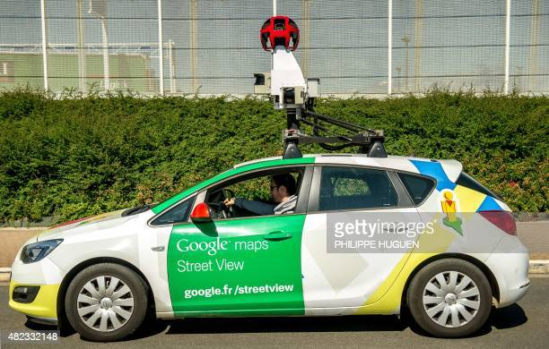 A Google Street View vehicle collects imagery for Google Maps while driving down a street in Calais northern France on July 29 2015 AFP PHOTO /...