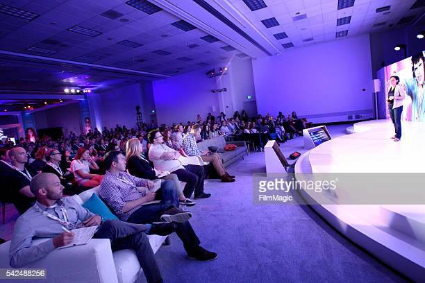 Google Vice President of Ads and America Lisa Gevelber speaks onstage at the YouTube Lounge during VidCon at the Anaheim Convention Center on June 23...
