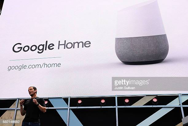 Google Vice President of Product Management Mario Queiroz shows the new Google Home during Google I/O 2016 at Shoreline Amphitheatre on May 19 2016...