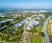 Mountain View, Ca/USA May 7, 2017: Googleplex - Google Headquarters office buildings seen from the above