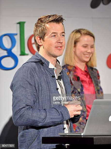 Google's Director of Product Managment R J Pittmen and Google's Vice President of Search Products User Experience Marissa Mayer attend the Google and...