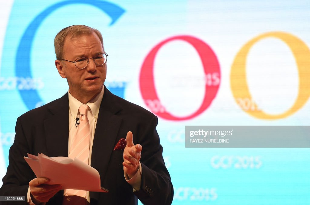 Google's Executive Chairman, <a gi-track='captionPersonalityLinkClicked' href=/galleries/search?phrase=Eric+Schmidt&family=editorial&specificpeople=5515021 ng-click='$event.stopPropagation()'>Eric Schmidt</a> adresses the 9th Global Competitiveness Forum (GCF2015), in Riyadh, on January 26, 2015. Saudi Arabia's new leadership will push forward efforts to diversify the growing but oil-dependent economy, while easing procedures for investors, senior officials said. The annual event, organised by Saudi Arabian General Investment Authority (SAGIA, brings together high-ranking Saudi officials with world business leaders. AFP PHOTO / FAYEZ NURELDINE