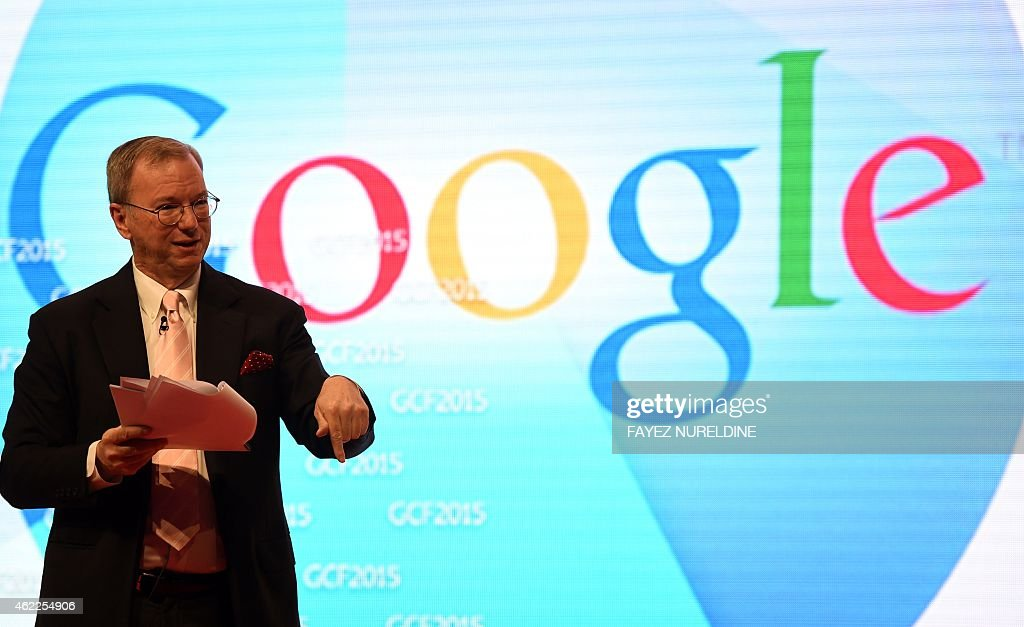 Google's Executive Chairman, <a gi-track='captionPersonalityLinkClicked' href=/galleries/search?phrase=Eric+Schmidt&family=editorial&specificpeople=5515021 ng-click='$event.stopPropagation()'>Eric Schmidt</a> adresses the 9th Global Competitiveness Forum (GCF2015), held in Riyadh, on January 26, 2015. Saudi Arabia's new leadership will push forward efforts to diversify the growing but oil-dependent economy, while easing procedures for investors, senior officials said. The annual event, organised by Saudi Arabian General Investment Authority (SAGIA, brings together high-ranking Saudi officials with world business leaders. AFP PHOTO / FAYEZ NURELDINE