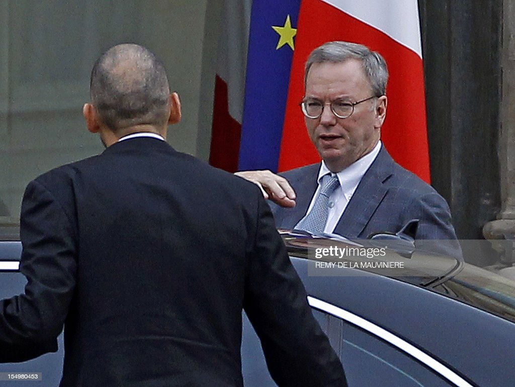 Google's executive chairman Eric Schmidt arrives at the Elysee Palace for a meeting with French President on October 29, 2012 in Paris. Schmidt meets President amid a revenue row with French, German and Italian media firms who want the Internet giant to pay for content.