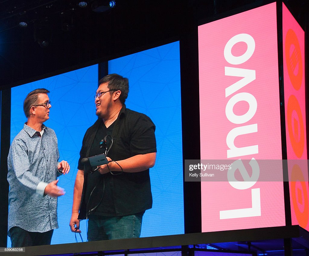 Google's Johnny Lee and Lenovo General Manager and Vice President of the Android Chrome Computing Business Group Jeff Meredith unveil the new PHAB2...