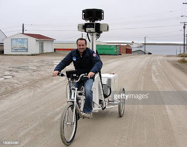 Google's Mike Pegg pedals the Street View trike into the hamlet of Cambridge Bay to start capturing 360degree photos to be added to an online map of...