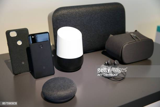 Google's new Home and Pixel products are seen at a product launch event on October 4 2017 at the SFJAZZ Center in San Francisco California Google...