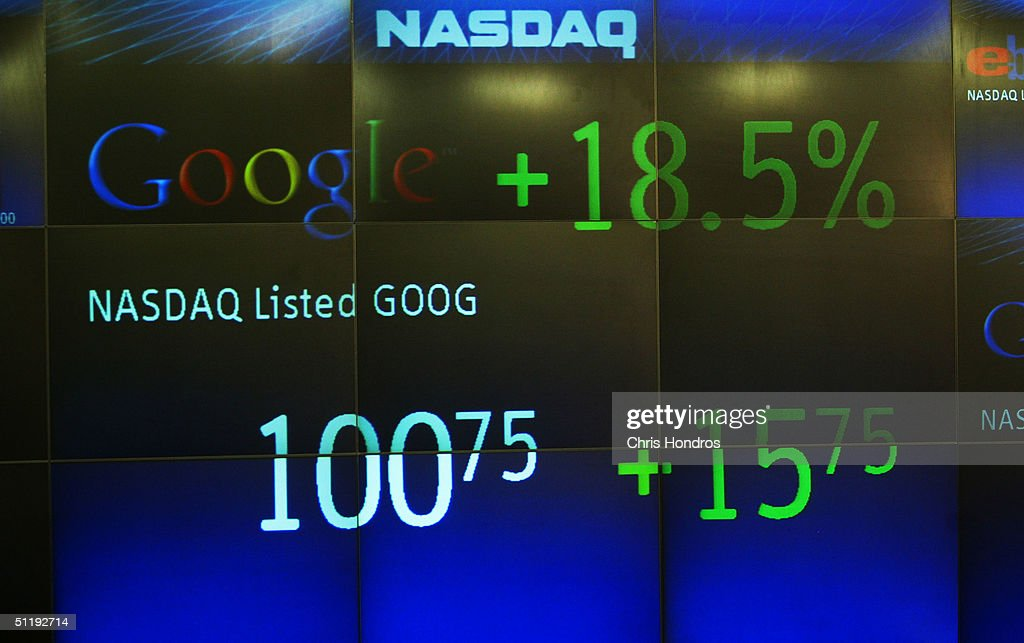 Google's rising stock price appears on the NASDAQ Marketsite just before the markets close August 19, 2004 in New York. Shares of Google Inc. made their debut on the Nasdaq Stock Market August 19.