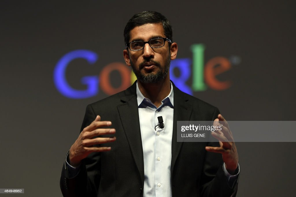 Google's Senior Vice President <a gi-track='captionPersonalityLinkClicked' href=/galleries/search?phrase=Sundar+Pichai&family=editorial&specificpeople=7768399 ng-click='$event.stopPropagation()'>Sundar Pichai</a> gives a keynote address during the opening day of the 2015 Mobile World Congress (MWC) in Barcelona on March 2, 2015. Phone makers will seek to seduce new buyers with even smarter Internet-connected watches and other wireless gadgets as they wrestle for dominance at the world's biggest mobile fair starting today. AFP PHOTO / LLUIS LLENE