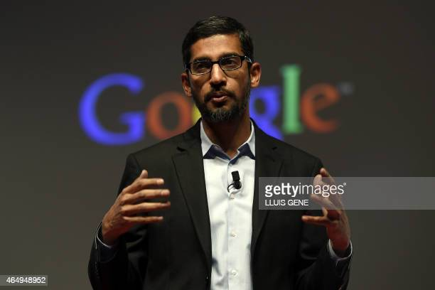 Google's Senior Vice President Sundar Pichai gives a keynote address during the opening day of the 2015 Mobile World Congress in Barcelona on March 2...