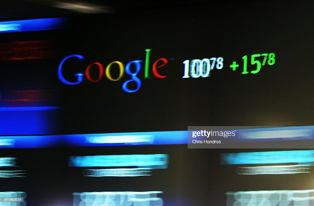 Google's stock price appears on the NASDAQ Marketsite just before the markets close August 19, 2004 in New York City. Shares of Google Inc. closed at 100.34, or $15.34 higher than it opened.